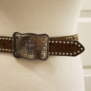 Nocona Accessories - Nocona leather belt w/ Cross & rhinestone embell